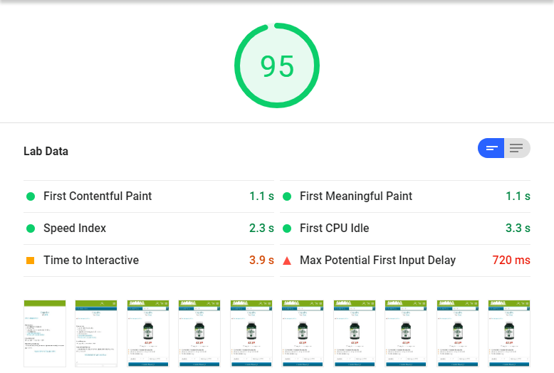 PageSpeed Insights score of 95