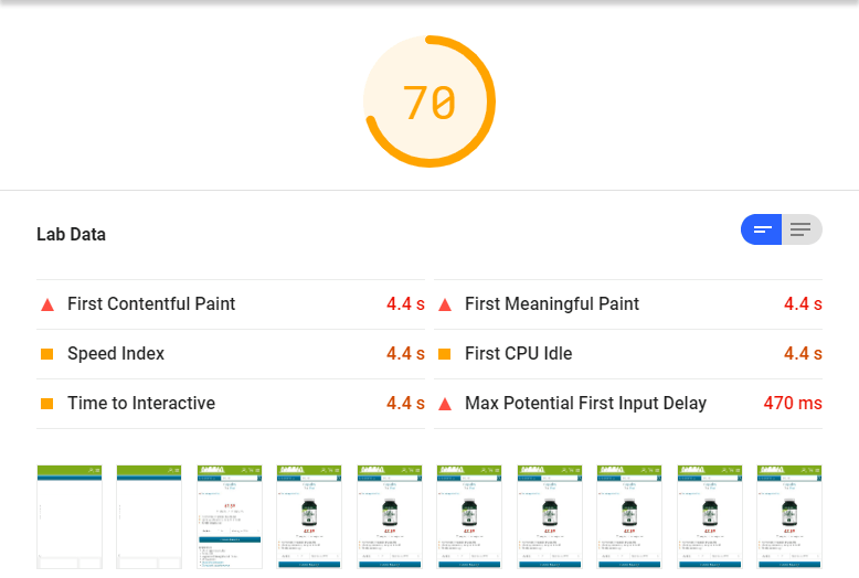 PageSpeed Insights score of 70