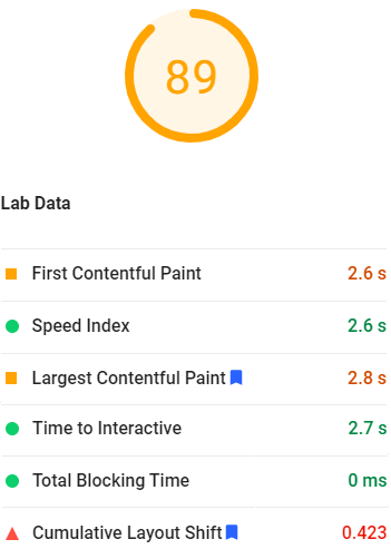Score 89 with FCP and Speed Index 2.6 seconds, LCP 2.8, TTI 2.7 and Total Blocking Time of 0ms