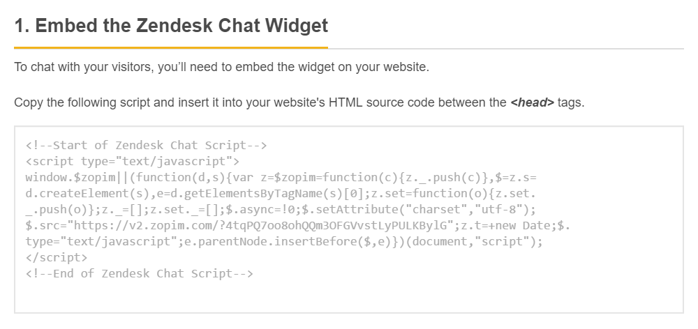 Screenshot of Zendesk where you can copy their JavaScript snippet to be embedded within your website